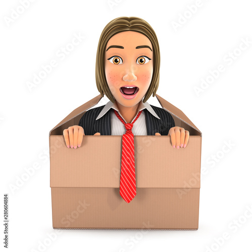 3d business woman coming out of the box Fototapet