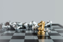 Chess (Knight Wins The Game) On White Background. Success, Business Strategy, Tactics, Win, Victory, Winner, Intellect, Defeat, Beat, Knock Or Checkmate Concept.