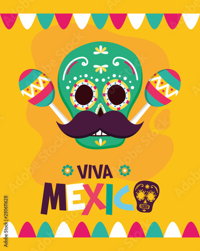 Poster de jardin Echelle de hauteur sugar skull maracas mustache celebration viva mexico