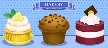 Vector Illustration Of Colorful Sweet Desserts, Cupcakes, Muffins, Little Cakes In Confectionery Or Bakery