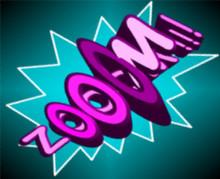 Glossy Cartoon Zooom!!! Explosion In Comic Book Cloud