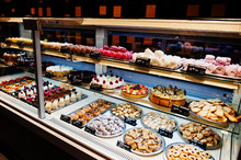 Various Cakes On Supermarket S...