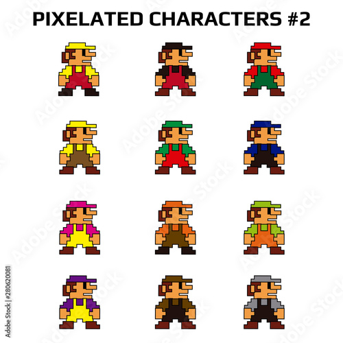 Photo  Illustration of several pixelated characters wearing different color clothes