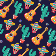 Sugar Skull Guitar And Cactus Celebration Viva Mexico Background