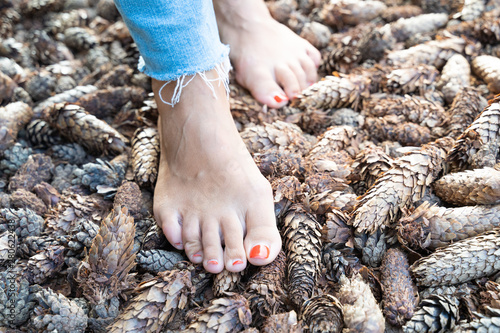 Photo Hardening feet (barefoot walking) to different surfaces and temperatures accordi