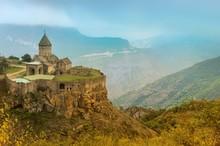 View Over Tatev Armenian Apostolic Monastery Surrounded By Mountains, Syunik Province, Armenia, Asia