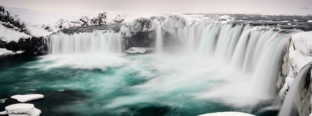 GÛafoss Waterfall, panoramic view, waterfall of the Gods, Godafoss in winter with snow and ice, Northwestern Region, North Iceland, Iceland, Europe