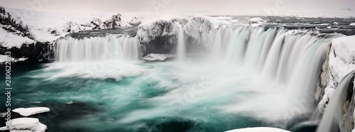 GÛafoss Waterfall, panoramic view, waterfall of the Gods, Godafoss in winter with snow and ice, Northwestern Region, North Iceland, Iceland, Europe - 280622883
