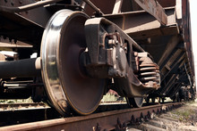 Chassis, Wheels Of A Railway Car, Rails - The Concept Of Transportation And Shipping