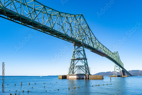 Photo A section of the Astoria-Megler Bridge, a steel cantilever through truss bridge in the United States between Astoria, Oregon, and Point Ellice near Megler, Washington, over the Columbia River