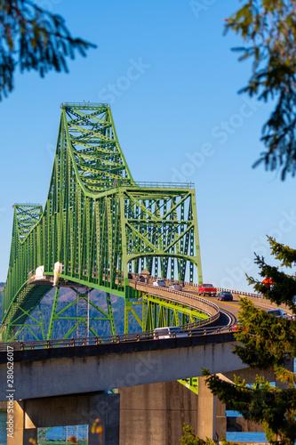 Photo Close up view on Astoria-Megler Bridge, a steel cantilever through truss bridge in northwest United States spanning Columbia River between Astoria, Oregon, and Point Ellice near Megler, Washington