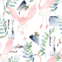 Flamingo Dancing Ballet. Hand Drawn Illustration. Watercolor Abstract Seamless Pattern