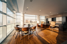 Interior Of Modern Office With Floor To Ceiling Windows