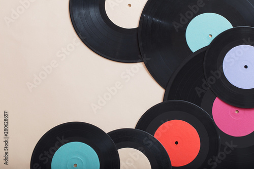 Music records on paper background. Retro music concept - 280628657