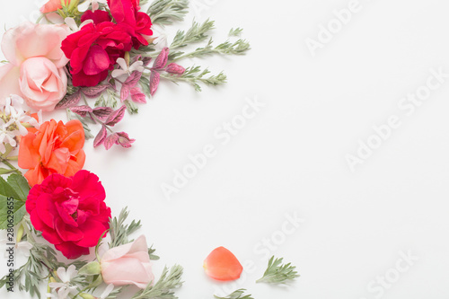 Canvas Prints Floral rose flowers and leaves on white background