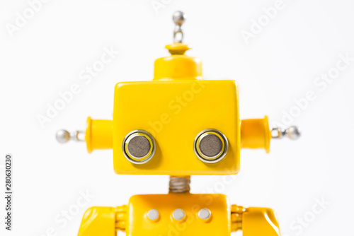 Retouched version of Portrait of a Cute, yellow, handmade robot. Canvas Print