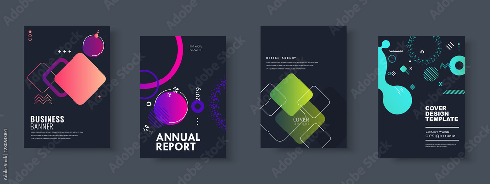Fototapety, obrazy: Set of brochure, annual report, flyer design templates. Vector illustrations for business presentation, business paper, corporate document cover and layout template designs
