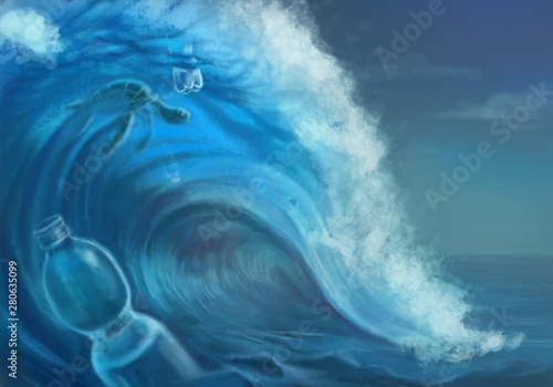 Fotografie, Obraz  Art illustration of the wave and plastic bottle -pollution of the oceans with pl