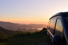 Campervan In The Mountains Wit...