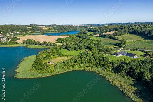 Fotobehang Rivier Aerial view of Kashubian Landscape Park. Kaszuby. Poland. Photo made by drone from above. Bird eye view.
