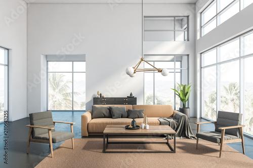 Fototapeta White living room interior with beige sofa obraz na płótnie