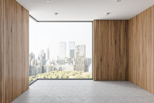 Empty Wooden Wall Room Interior With Window