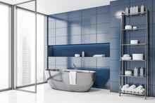 Blue Tile Bathroom Corner With Tub