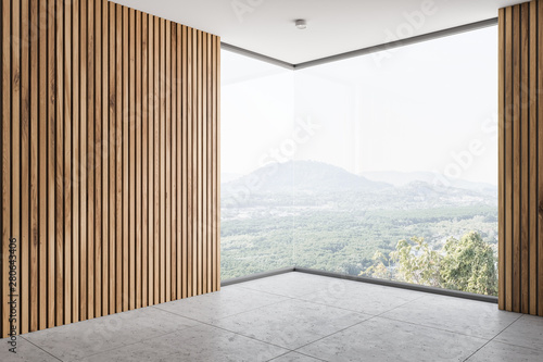 Canvas Prints Countryside Empty wooden wall room corner with window