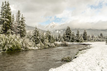 An Alpine River Soon After A Summer Snow Storm With Fresh Snow On The Grass And Cloudy Sky 2, Colorado River, Colorado