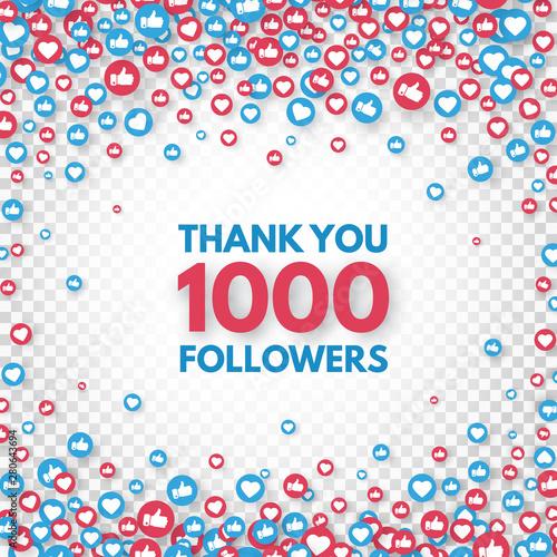 Fotografiet Thank you 1000 followers background