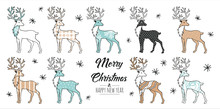 Set Of Hand Drawn Christmas  Reindeer. Decoration Isolated Elements. Doodles And Sketches Vector Illustration