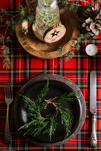 Christmas Place Setting From Above, Red Checkered Tablecloth And