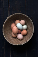 Top View Of Basket With Eggs