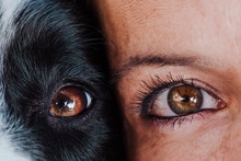 Close Up View Of Woman And Dog Eyes Together. Love For Animals Concept
