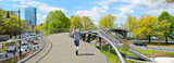 Fototapeta Na drzwi - Boston in the springtime, panoramic view. Pedestrian overpass to the Esplanade in Back Bay