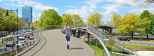 Boston In The Springtime, Panoramic View. Pedestrian Overpass To The Esplanade In Back Bay