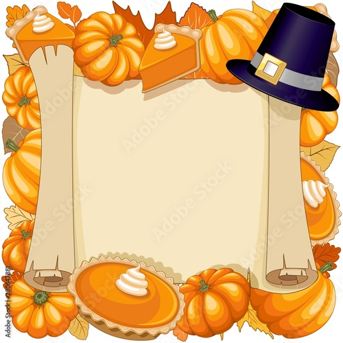 Poster de jardin Draw Halloween Thanksgiving Pumpkin pie Holidays Parchement Frame Vector Illustration