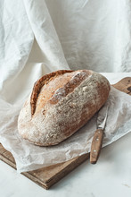 Rustic Organic Bread And Knife...