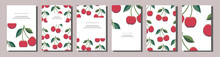 Set Of Positive Summer Card Templates With Red Cherries. Use For Invitations, Greeting Cards, Romantic Design, Festive Announcements, Posters, Menu. Decoration With Berries For Fruit Shop, Cafe, Bar