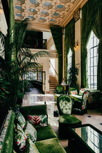 Luxurious Hotel Lobby With Green Velvet Furniture