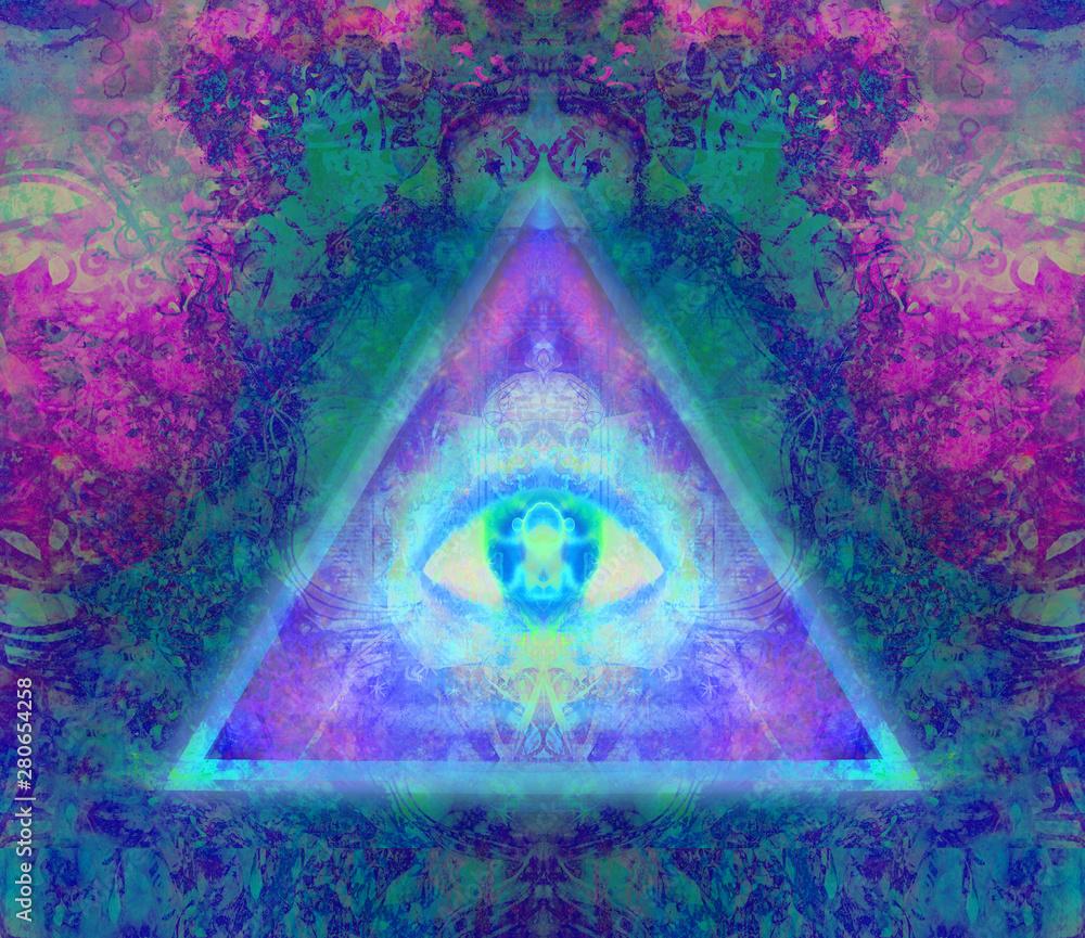 Fototapeta Illustration of a third eye mystical sign
