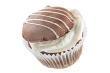 Chocolate Cupcakes With Cream. All Details In Focus. Full Depth Of Field.