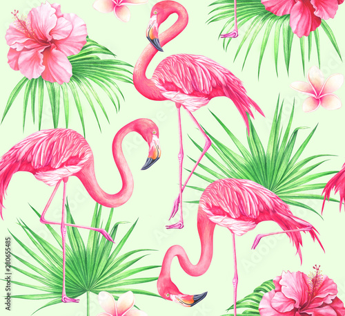 Watercolor seamless tropical pattern with flowers, palm leaves and flamingos. © Oleksandra