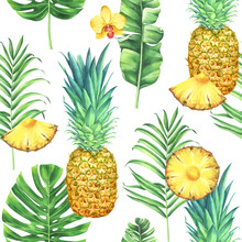 Seamless Watercolor Pattern With Pineapples, Tropical Leaves, And Flowers.