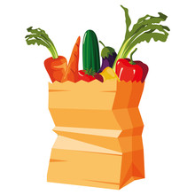 Paper Bag Supermarket Vegetables Carrot Cucumber Eggplant
