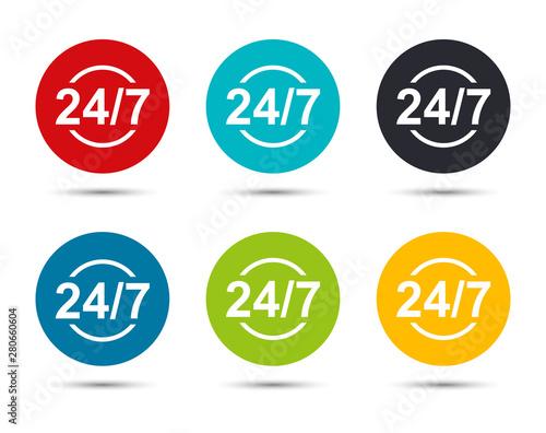 24/7 icon flat round button set illustration design Canvas Print