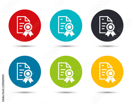 Certificate paper icon flat round button set illustration design Wallpaper Mural
