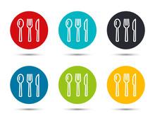 Cutlery Icon Flat Round Button Set Illustration Design