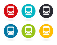 Train Icon Flat Round Button Set Illustration Design