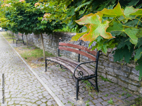 Fototapety, obrazy: benches in the old town, benches on a stone alley